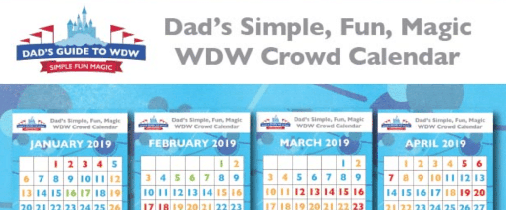 Disney World Crowd Calendar from Dad's Guide to WDW