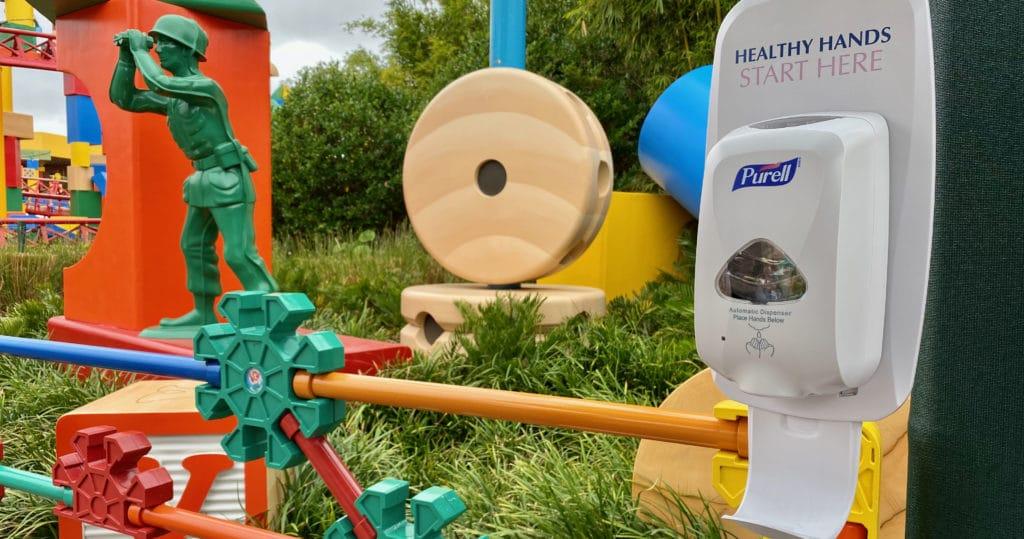Hand Sanitizer Station in Toy Story Land for Disney World Coronavirus Outbreak