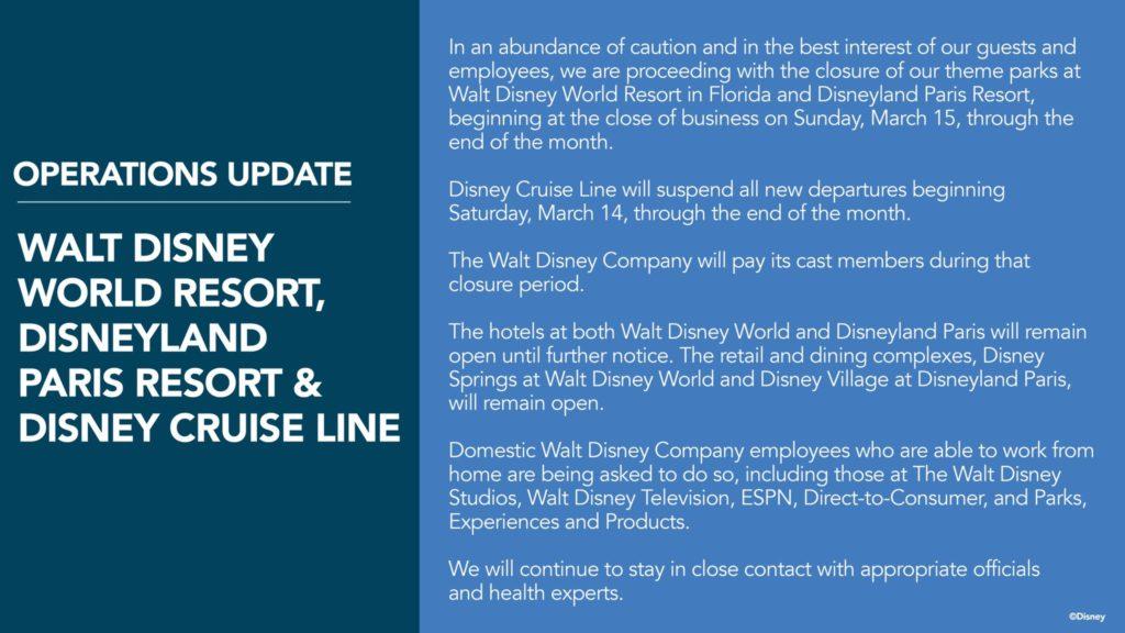Walt Disney Word Closure for Coronavirus Notice